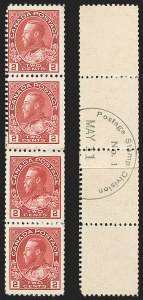 "Sale Number 1178, Lot Number 1280, 1911-25 King George V ""Admirals"" and Balance (Scott 104-140)CANADA, 1915, 2c Deep Rose Red, Experimental Coil, Type ""A"" Backstamp (Unitrade 106x), CANADA, 1915, 2c Deep Rose Red, Experimental Coil, Type ""A"" Backstamp (Unitrade 106x)"
