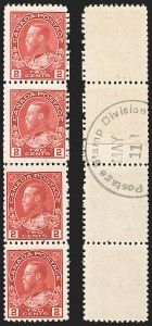 "Sale Number 1178, Lot Number 1281, 1911-25 King George V ""Admirals"" and Balance (Scott 104-140)CANADA, 1915, 2c Deep Rose Red, Experimental Coil, Type ""B"" Backstamp (Unitrade 106xi), CANADA, 1915, 2c Deep Rose Red, Experimental Coil, Type ""B"" Backstamp (Unitrade 106xi)"
