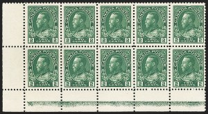 "Sale Number 1178, Lot Number 1283, 1911-25 King George V ""Admirals"" and Balance (Scott 104-140)CANADA, 1922, 2c Green, Type ""D"" Lathework Inverted (107), CANADA, 1922, 2c Green, Type ""D"" Lathework Inverted (107)"