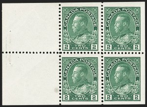 "Sale Number 1178, Lot Number 1284, 1911-25 King George V ""Admirals"" and Balance (Scott 104-140)CANADA, 1922, 2c Yellow Green, Booklet Pane of Four, Pyramid Guide (Unitrade 107bi), CANADA, 1922, 2c Yellow Green, Booklet Pane of Four, Pyramid Guide (Unitrade 107bi)"