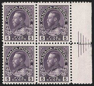 "Sale Number 1178, Lot Number 1289, 1911-25 King George V ""Admirals"" and Balance (Scott 104-140)CANADA, 1924, 5c Violet, Wet Printing, Thin Paper, Right Margin Pyramid Block of Four (Unitrade 112v), CANADA, 1924, 5c Violet, Wet Printing, Thin Paper, Right Margin Pyramid Block of Four (Unitrade 112v)"