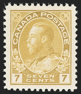 "Sale Number 1178, Lot Number 1290, 1911-25 King George V ""Admirals"" and Balance (Scott 104-140)CANADA, 1916, 7c Yellow Ocher (113), CANADA, 1916, 7c Yellow Ocher (113)"
