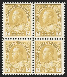"Sale Number 1178, Lot Number 1291, 1911-25 King George V ""Admirals"" and Balance (Scott 104-140)CANADA, 1912, 7c Yellow Ocher (113), CANADA, 1912, 7c Yellow Ocher (113)"