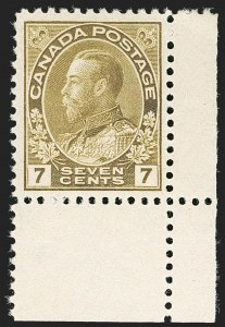 "Sale Number 1178, Lot Number 1294, 1911-25 King George V ""Admirals"" and Balance (Scott 104-140)CANADA, 1914, 7c Sage Green (113c), CANADA, 1914, 7c Sage Green (113c)"