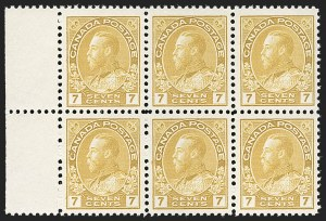 "Sale Number 1178, Lot Number 1295, 1911-25 King George V ""Admirals"" and Balance (Scott 104-140)CANADA, 1916, 7c Yellow Ocher, Retouched Vertical Line in Upper Right Spandrel (Unitrade 113iii), CANADA, 1916, 7c Yellow Ocher, Retouched Vertical Line in Upper Right Spandrel (Unitrade 113iii)"