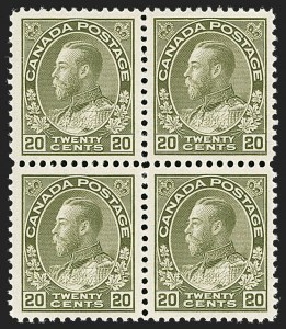 "Sale Number 1178, Lot Number 1299, 1911-25 King George V ""Admirals"" and Balance (Scott 104-140)CANADA, 1925, 20c Olive Green, Dry Printing, Retouched Vertical Line in Upper Right Spandrel (Unitrade 119iv), CANADA, 1925, 20c Olive Green, Dry Printing, Retouched Vertical Line in Upper Right Spandrel (Unitrade 119iv)"