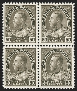 "Sale Number 1178, Lot Number 1300, 1911-25 King George V ""Admirals"" and Balance (Scott 104-140)CANADA, 1925, 50c Brown Black, Dry Printing (120), CANADA, 1925, 50c Brown Black, Dry Printing (120)"