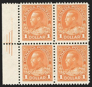 "Sale Number 1178, Lot Number 1301, 1911-25 King George V ""Admirals"" and Balance (Scott 104-140)CANADA, 1925, $1.00 Orange, Dry Printing, Pyramid Guide (122; Unitrade 122iii), CANADA, 1925, $1.00 Orange, Dry Printing, Pyramid Guide (122; Unitrade 122iii)"