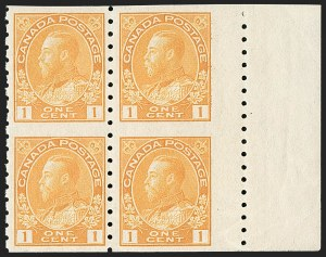 "Sale Number 1178, Lot Number 1302, 1911-25 King George V ""Admirals"" and Balance (Scott 104-140)CANADA, 1912, 1c Orange Yellow Coil, Wet Printing, Block of Four (126c), CANADA, 1912, 1c Orange Yellow Coil, Wet Printing, Block of Four (126c)"