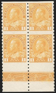 "Sale Number 1178, Lot Number 1303, 1911-25 King George V ""Admirals"" and Balance (Scott 104-140)CANADA, 1912, 1c Orange Yellow Coil, Wet Printing, Type ""B"" Lathework Block of Four (126c), CANADA, 1912, 1c Orange Yellow Coil, Wet Printing, Type ""B"" Lathework Block of Four (126c)"