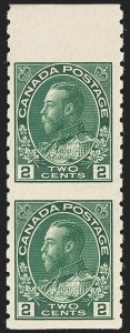 "Sale Number 1178, Lot Number 1304, 1911-25 King George V ""Admirals"" and Balance (Scott 104-140)CANADA, 1922, 2c Green Coil, Wet Printing, Vertical Pair, Imperf Horizontally (Unitrade 128ai), CANADA, 1922, 2c Green Coil, Wet Printing, Vertical Pair, Imperf Horizontally (Unitrade 128ai)"