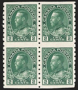 "Sale Number 1178, Lot Number 1305, 1911-25 King George V ""Admirals"" and Balance (Scott 104-140)CANADA, 1922, 2c Green Coil, Wet Printing, Block of Four (Unitrade 128ai), CANADA, 1922, 2c Green Coil, Wet Printing, Block of Four (Unitrade 128ai)"