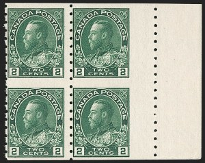 "Sale Number 1178, Lot Number 1306, 1911-25 King George V ""Admirals"" and Balance (Scott 104-140)CANADA, 1922, 2c Green Coil, Wet Printing, Block of Four (Unitrade 128ai), CANADA, 1922, 2c Green Coil, Wet Printing, Block of Four (Unitrade 128ai)"