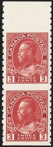 "Sale Number 1178, Lot Number 1307, 1911-25 King George V ""Admirals"" and Balance (Scott 104-140)CANADA, 1924, 3c Carmine Coil, Vertical Pair, Imperf Horizontally (130a), CANADA, 1924, 3c Carmine Coil, Vertical Pair, Imperf Horizontally (130a)"
