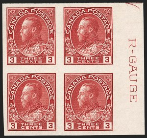 "Sale Number 1178, Lot Number 1311, 1911-25 King George V ""Admirals"" and Balance (Scott 104-140)CANADA, 1924, 3c Carmine, Imperforate, R-Gauge Block (Unitrade 138ii), CANADA, 1924, 3c Carmine, Imperforate, R-Gauge Block (Unitrade 138ii)"