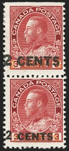"Sale Number 1178, Lot Number 1312, 1911-25 King George V ""Admirals"" and Balance (Scott 104-140)CANADA, 1926, 2c on 3c Carmine, Vertical Pair, Essay with Large and Small Surcharges (Unitrade 139v), CANADA, 1926, 2c on 3c Carmine, Vertical Pair, Essay with Large and Small Surcharges (Unitrade 139v)"