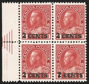 "Sale Number 1178, Lot Number 1313, 1911-25 King George V ""Admirals"" and Balance (Scott 104-140)CANADA, 1926, 2c on 3c Carmine, Die I, Pyramid Guide (Unitrade 139iii), CANADA, 1926, 2c on 3c Carmine, Die I, Pyramid Guide (Unitrade 139iii)"