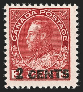 "Sale Number 1178, Lot Number 1314, 1911-25 King George V ""Admirals"" and Balance (Scott 104-140)CANADA, 1926, 2c on 3c Carmine, Die II (139c), CANADA, 1926, 2c on 3c Carmine, Die II (139c)"
