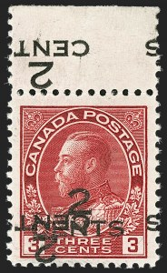 "Sale Number 1178, Lot Number 1318, 1911-25 King George V ""Admirals"" and Balance (Scott 104-140)CANADA, 1926, 2c on 3c Carmine, Double Surcharge, One Inverted (140c), CANADA, 1926, 2c on 3c Carmine, Double Surcharge, One Inverted (140c)"