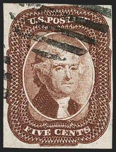 Sale Number 1179, Lot Number 2112, 5c-12c 1851-56 Issue (Scott 12-17)5c Red Brown, Defective Transfer (12), 5c Red Brown, Defective Transfer (12)