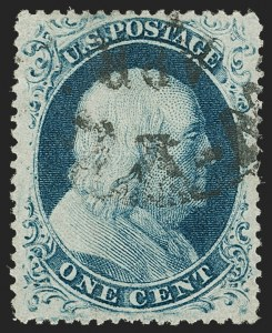 Sale Number 1179, Lot Number 2124, 1857-60 Issue (Scott 18-39)1c Blue, Ty. IIIa (22), 1c Blue, Ty. IIIa (22)