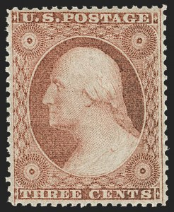 Sale Number 1179, Lot Number 2126, 1857-60 Issue (Scott 18-39)3c Dull Red, Ty. III (26). Mint N.H, 3c Dull Red, Ty. III (26). Mint N.H