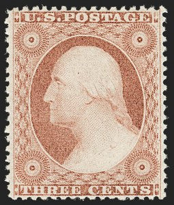 Sale Number 1179, Lot Number 2127, 1857-60 Issue (Scott 18-39)3c Dull Red, Ty. III (26). Mint N.H, 3c Dull Red, Ty. III (26). Mint N.H