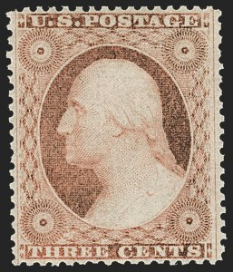 Sale Number 1179, Lot Number 2128, 1857-60 Issue (Scott 18-39)3c Dull Red, Ty. III (26). Mint N.H, 3c Dull Red, Ty. III (26). Mint N.H