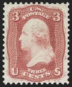 Sale Number 1179, Lot Number 2139, 1861-66 Issue (Scott 56-78)3c Brown Rose, First Design (56). Mint N.H, 3c Brown Rose, First Design (56). Mint N.H