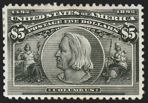 Sale Number 1179, Lot Number 2277, $1.00-$5.00 1893 Columbian Issue (Scott 241-245)$5.00 Columbian (245), $5.00 Columbian (245)