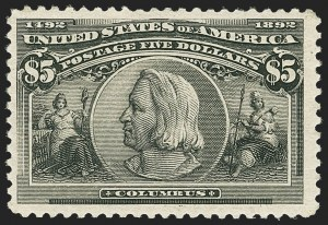 Sale Number 1179, Lot Number 2278, $1.00-$5.00 1893 Columbian Issue (Scott 241-245)$5.00 Columbian (245), $5.00 Columbian (245)