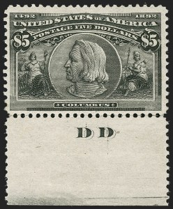 Sale Number 1179, Lot Number 2279, $1.00-$5.00 1893 Columbian Issue (Scott 241-245)$5.00 Columbian (245), $5.00 Columbian (245)