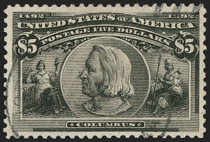 Sale Number 1179, Lot Number 2281, $1.00-$5.00 1893 Columbian Issue (Scott 241-245)$5.00 Columbian (245), $5.00 Columbian (245)