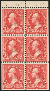 "Sale Number 1179, Lot Number 2305, 1894-98 Bureau Issues (Scott 246-282)2c Orange Red, Booklet Pane of Six, ""Specimen"" Ovpt. Ty. E (279BjS-E), 2c Orange Red, Booklet Pane of Six, ""Specimen"" Ovpt. Ty. E (279BjS-E)"