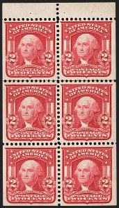 Sale Number 1179, Lot Number 2351, 1902-08 Issues (Scott 300-320)2c Carmine, Ty. I, Booklet Pane of Six (319g), 2c Carmine, Ty. I, Booklet Pane of Six (319g)