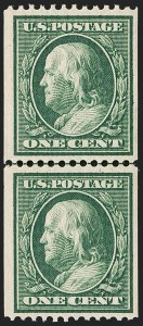 Sale Number 1179, Lot Number 2368, 1910-15 Washington-Franklin Issues (Scott 374-461)1c Green, Coil (385), 1c Green, Coil (385)