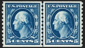 Sale Number 1179, Lot Number 2380, 1910-15 Washington-Franklin Issues (Scott 374-461)5c Blue, Coil (447), 5c Blue, Coil (447)