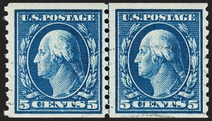 Sale Number 1179, Lot Number 2381, 1910-15 Washington-Franklin Issues (Scott 374-461)5c Blue, Coil (447), 5c Blue, Coil (447)