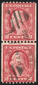 Sale Number 1179, Lot Number 2383, 1910-15 Washington-Franklin Issues (Scott 374-461)2c Carmine, Ty. III, Coil (450), 2c Carmine, Ty. III, Coil (450)