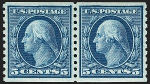 Sale Number 1179, Lot Number 2384, 1910-15 Washington-Franklin Issues (Scott 374-461)5c Blue, Coil (458), 5c Blue, Coil (458)