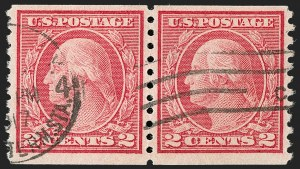 Sale Number 1179, Lot Number 2396, 1916-23 Issues (Scott 462-524)2c Carmine, Ty. II, Coil (491), 2c Carmine, Ty. II, Coil (491)