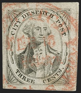 Sale Number 1179, Lot Number 2594, Carriers and Locals: General Issue and Government CarriersU.S. City Despatch Post, New York N.Y., 3c Black on Grayish (6LB1), U.S. City Despatch Post, New York N.Y., 3c Black on Grayish (6LB1)