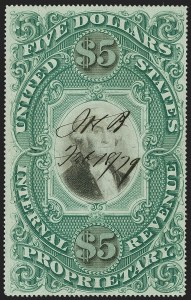 Sale Number 1179, Lot Number 2707, Revenues: Documentary, Proprietary, Stock Transfer$5.00 Green & Black on Violet Paper, Proprietary (RB10a), $5.00 Green & Black on Violet Paper, Proprietary (RB10a)