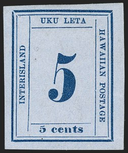 "Sale Number 1179, Lot Number 2814, U.S. Possessions: Hawaii, Numerals IssuesHAWAII, 1865, 5c Blue on Blue, ""Interisland"" (22), HAWAII, 1865, 5c Blue on Blue, ""Interisland"" (22)"