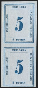 "Sale Number 1179, Lot Number 2815, U.S. Possessions: Hawaii, Numerals IssuesHAWAII, 1865, 5c Blue on Blue, ""Interisland"" (22), HAWAII, 1865, 5c Blue on Blue, ""Interisland"" (22)"