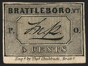 Sale Number 1180, Lot Number 1, 1845 Postmasters' Provisionals (Scott 5X1-11X8)Brattleboro Vt., 5c Black on Buff (5X1), Brattleboro Vt., 5c Black on Buff (5X1)