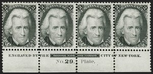 Sale Number 1180, Lot Number 123, 1861-66 Issue (Scott 63-78)2c Black (73). Bottom imprint and plate no, 2c Black (73). Bottom imprint and plate no