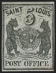 Sale Number 1180, Lot Number 13, 1845 Postmasters' Provisionals (Scott 5X1-11X8)St. Louis Mo., 5c Black on Gray Lilac (11X4), St. Louis Mo., 5c Black on Gray Lilac (11X4)