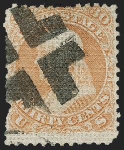 Sale Number 1180, Lot Number 131, 1867-68 Grilled Issue (Scott 79-101)30c Orange, A. Grill (81), 30c Orange, A. Grill (81)