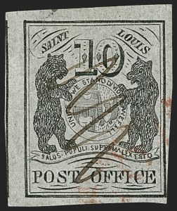 Sale Number 1180, Lot Number 14, 1845 Postmasters' Provisionals (Scott 5X1-11X8)St. Louis Mo., 10c Black on Gray Lilac (11X5), St. Louis Mo., 10c Black on Gray Lilac (11X5)